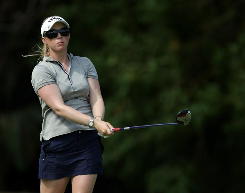 SINGAPORE - FEBRUARY 24:  Morgan Pressel of the USA during the first round of the HSBC Women's Champions at Tanah Merah Country Club  on February 24, 2011 in Singapore, Singapore.  (Photo by Ross Kinnaird/Getty Images)