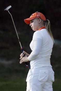 MOBILE, AL - NOVEMBER 8:  Morgan Pressel watches her putt on the 17th green during first round play in The Mitchell Company LPGA Tournament of Champions at Magnolia Grove Golf Course November 8, 2007 in Mobile, Alabama.  (Photo by Dave Martin/Getty Images)