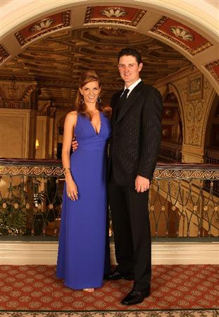 LOUISVILLE, KY - SEPTEMBER 17:  Justin Rose (R) of England and the European Ryder Cup team poses with his wife Kate at the Brown Hotel prior to the start of the 2008 Ryder Cup September 17, 2008 in Louisville, Kentucky. (Photo by David Cannon/Getty Images)