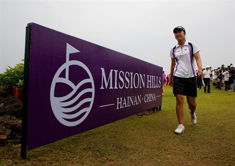 HAIKOU, CHINA - OCTOBER 31:Golfer Candie Kung of Taiwan walks during day five of the Mission Hills Start Trophy tournament at Mission Hills Resort on October 31, 2010 in Haikou, China. The Mission Hills Star Trophy is Asia's leading leisure liflestyle event which features Hollywood celebrities and international golf stars.  (Photo by Athit Perawongmetha/Getty Images for Mission Hills)
