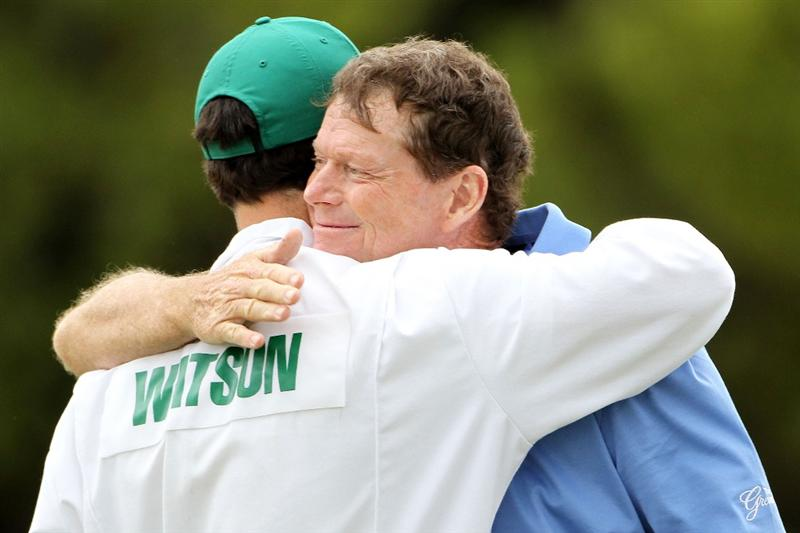 AUGUSTA, GA - APRIL 08:  Tom Watson hugs his caddie Todd Newcomb on the 18th green after a five-under par 67 during the first round of the 2010 Masters Tournament at Augusta National Golf Club on April 8, 2010 in Augusta, Georgia.  (Photo by Jamie Squire/Getty Images)