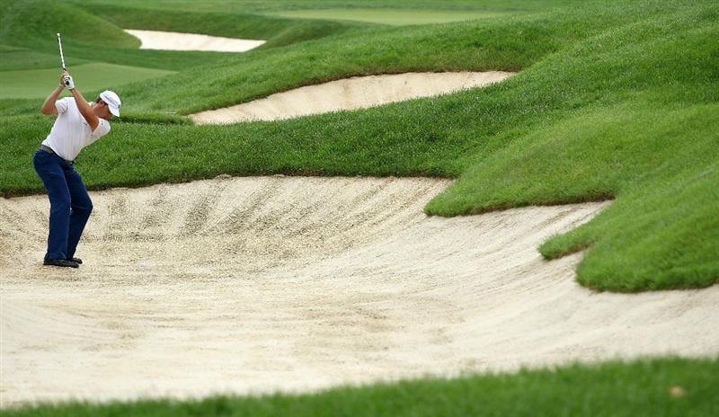 DUBLIN, OH - JUNE 05:  Ricky Barnes plays a bunker shot on the 18th hole during the third round of the Memorial Tournament presented by Morgan Stanley at Muirfield Village Golf Club on June 5, 2010 in Dublin, Ohio.  (Photo by Scott Halleran/Getty Images)