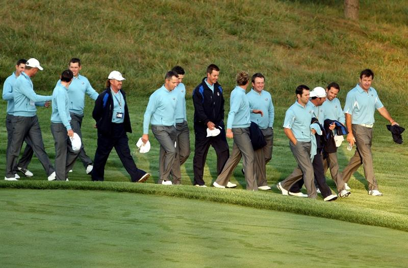 LOUISVILLE, KY - SEPTEMBER 16:  The European team captain Nick Faldo and the team walk along the first hole before the European Team photo shoot prior to the start of the 2008 Ryder Cup at Valhalla Golf Club of September 16, 2008 in Louisville, Kentucky.  (Photo by Ross Kinnaird/Getty Images)