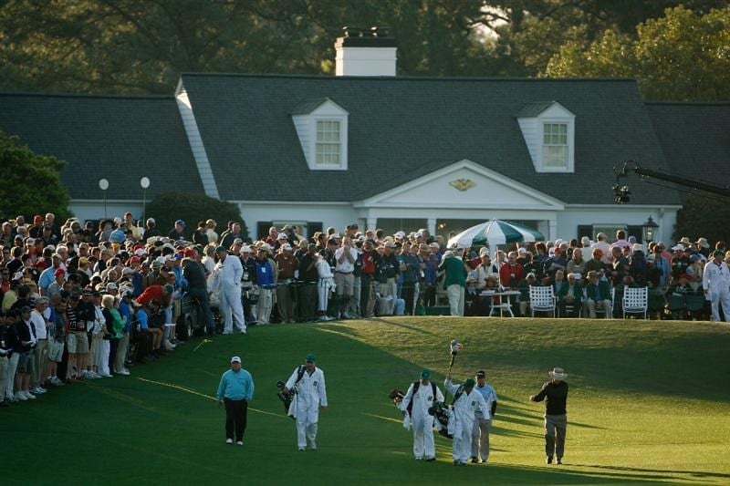 AUGUSTA, GA - APRIL 09:  Ian Woosnam of Wales, Chez Reavie and Briny Baird walk up the first fairway during the first round of the 2009 Masters Tournament at Augusta National Golf Club on April 9, 2009 in Augusta, Georgia.  (Photo by Jamie Squire/Getty Images)