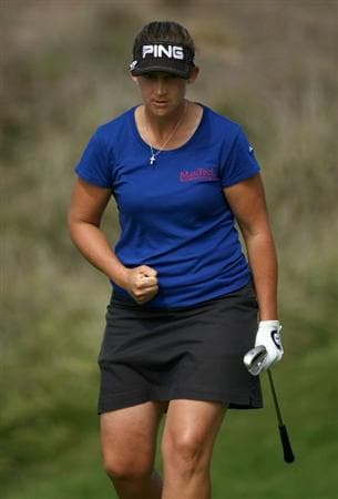 HALF MOON BAY, CA - OCTOBER 05:  Angela Stanford reacts to chipping in for a birdie on the 2nd hole during the final round of the Samsung World Championship at the Half Moon Bay Golf Links Ocean Course on October 5, 2008 in Half Moon Bay, California.  (Photo by Jonathan Ferrey/Getty Images)