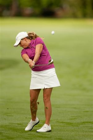 SPRINGFIELD, IL - JUNE 13: Cristie Kerr hits an approach shot during continuation of the third round of the LPGA State Farm Classic at Panther Creek Country Club on June 13, 2010 in Springfield, Illinois. (Photo by Darren Carroll/Getty Images)