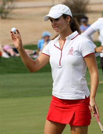 PHOENIX, AZ - MARCH 18:  Beatriz Recari of Spain holds up her ball after finishing the first round of the RR Donnelley LPGA Founders Cup at Wildfire Golf Club on March 18, 2011 in Phoenix, Arizona. (Photo by Stephen Dunn/Getty Images)