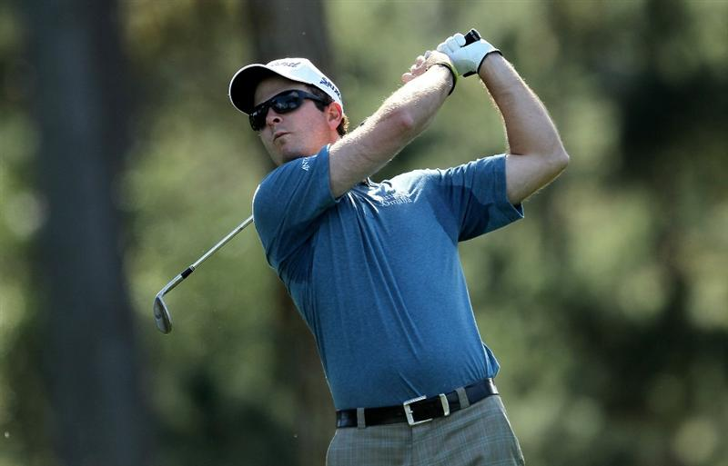 PEBBLE BEACH, CA - FEBRUARY 12:  Kevin Streelman hits his tee shot on the 15th hole during the second round of the AT&T Pebble Beach National Pro-Am at Spyglass Hill Golf Course on February 12 2010 in Pebble Beach, California. (Photo by Stephen Dunn/Getty Images)