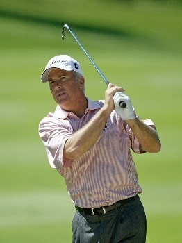 Curtis Strange hits his second shot on the 11th hole during the first round of The 66th Senior PGA Championship at Laurel Valley CC, Ligonier, Pa. , May 26th, 2005