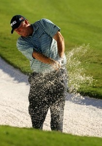 Mark Calcavecchia hits from out of the sand on the 17th hole hole during the third round of the TOUR Championship, the final event of the new PGA TOUR Playoffs for the FedExCup at East Lake Golf Club on September 15, 2007 in Atlanta, Georgia. PGA TOUR - 2007 THE TOUR Championship presented by Coca-Cola - Third RoundPhoto by Streeter Lecka/WireImage.com