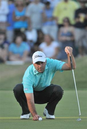 LAS VEGAS- OCTOBER 19: Marc Turnesa lines up a birdie putt on the 18th hole  during the fourth and final round of  the Justin Timberlake Shriners Hospitals for Children Open held at the TPC Summerlin on October 19, 2008 in Las Vegas, Nevada.  (Photo by Marc Feldman/Getty Images)