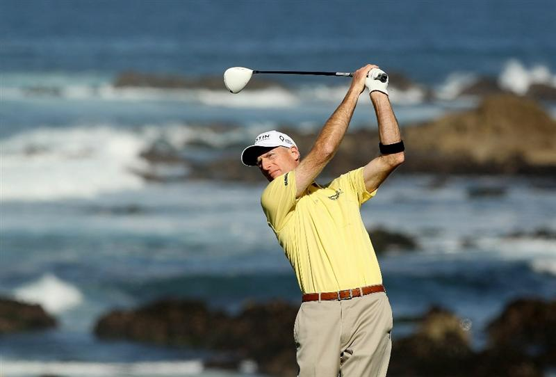 PEBBLE BEACH, CA - FEBRUARY 11:  Jim Furyk tees off on the 13th hole during the second round of the AT&T Pebble Beach National Pro-Am at Monterey Peninsula Country Club on February 11, 2011 in Pebble Beach, California.  (Photo by Ezra Shaw/Getty Images)