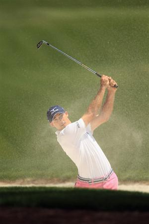 CHARLOTTE, NC - MAY 08:  Jonathan Byrd hits a shot out of the fairway bunker on the 4th hole during the final round of the Wells Fargo Championship at Quail Hollow Club on May 8, 2011 in Charlotte, North Carolina.  (Photo by Streeter Lecka/Getty Images)