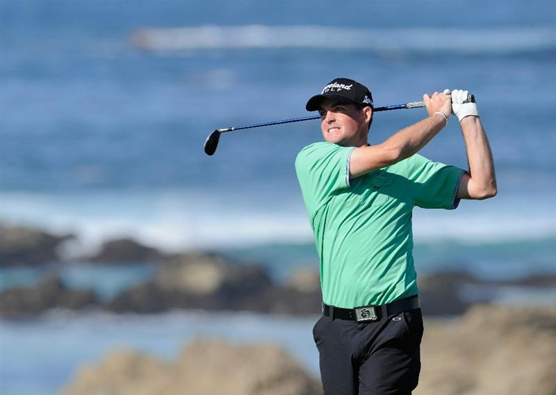 PEBBLE BEACH, CA - FEBRUARY 10:  Keegan Bradley plays a shot during the first round of the AT&T Pebble Beach National Pro-Am at Monterey Peninsula Country Club on February 10, 2011  in Pebble Beach, California.  (Photo by Stuart Franklin/Getty Images)