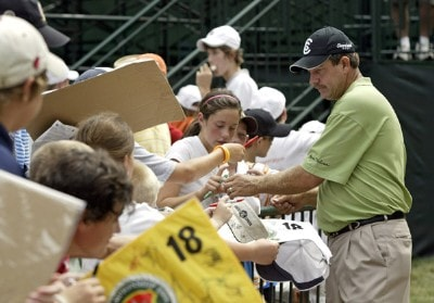 Bart Bryant signs autographs during practice for the PGA Championship held at Medinah Country Club in Medinah, Illinois, on August 14, 2006.Photo by Hunter Martin/WireImage.com