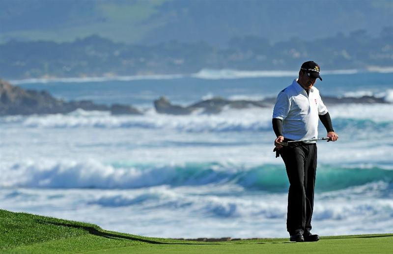 PEBBLE BEACH, CA - FEBRUARY 14:  J. B Holmes reacts to his putt on the 18th hole during the final round of the AT&T Pebble Beach National Pro-Am at Pebble Beach Golf Links on February 14, 2010 in Pebble Beach, California.  (Photo by Stuart Franklin/Getty Images)