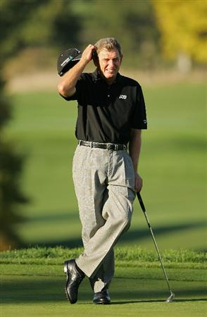 TIMONIUM, MD - OCTOBER 11:  Nick Price prepares for a birdie putt on the 16th green during the third round of the Constellation Energy Senior Players Championship at Baltimore Country Club East Course held on October 11, 2008 in Timonium, Maryland  (Photo by Michael Cohen/Getty Images)