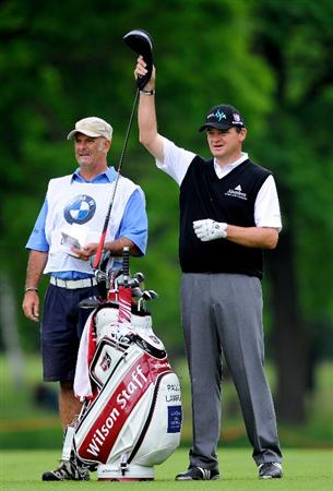 TURIN, ITALY - MAY 08:  Paul Lawrie of Scotland and caddie Andy Forsyth on the eighth hole during the third round of the BMW Italian Open at Royal Park I Roveri on May 8, 2010 in Turin, Italy.  (Photo by Stuart Franklin/Getty Images)
