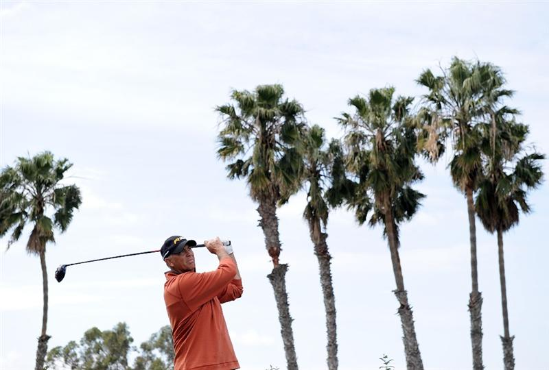 NEWPORT BEACH, CA - MARCH 07:  Tom Lehman hits a tee shot on the third hole during the third round of the Toshiba Classic at the Newport Beach Country Club on March 7, 2010 in Newport Beach, California.  (Photo by Harry How/Getty Images)