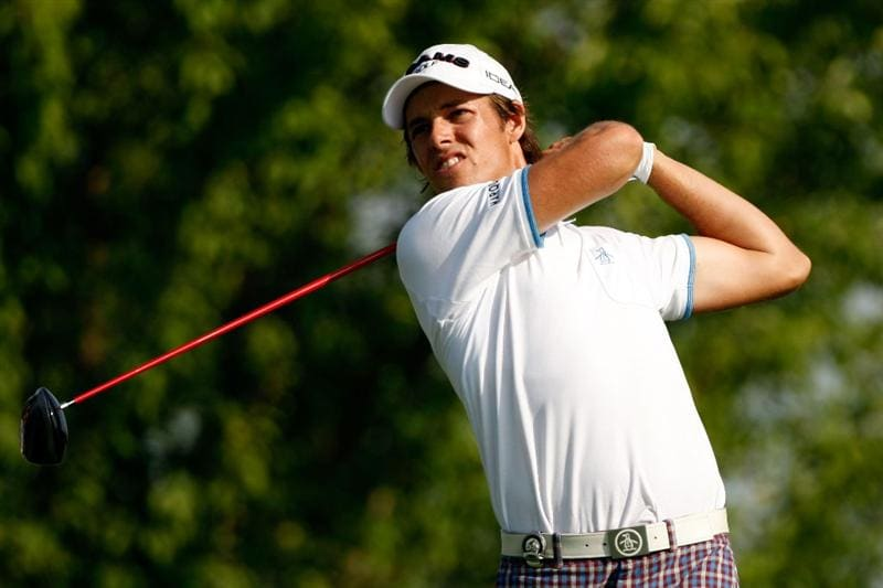 CHASKA, MN - AUGUST 13:  Aaron Baddeley of Australia watches his tee shot on the third hole during the first round of the 91st PGA Championship at Hazeltine National Golf Club on August 13, 2009 in Chaska, Minnesota.  (Photo by Streeter Lecka/Getty Images)