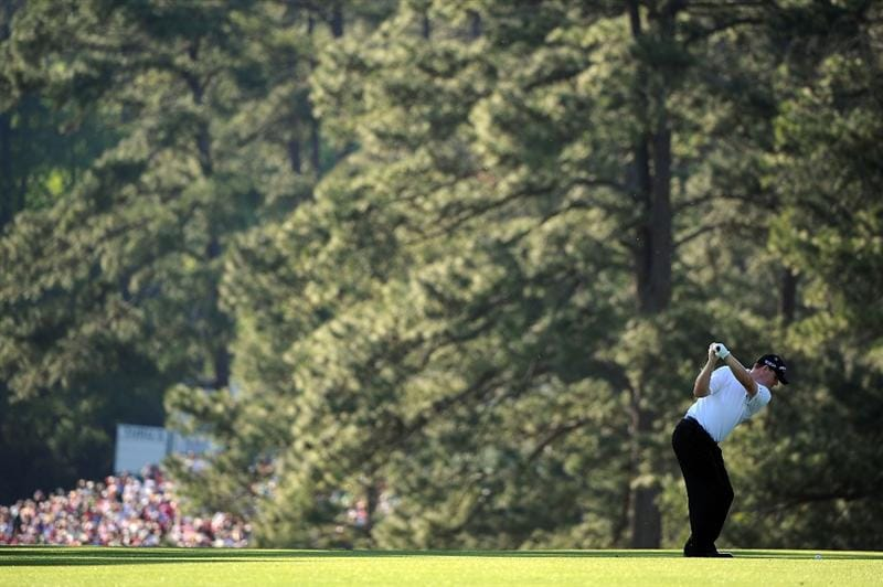 AUGUSTA, GA - APRIL 12:  Chad Campbell hits his second shot on the 13th hole during the final round of the 2009 Masters Tournament at Augusta National Golf Club on April 12, 2009 in Augusta, Georgia.  (Photo by Harry How/Getty Images)