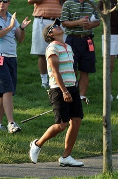 HAVRE DE GRACE, MD - JUNE 08:  Yani Tseng of Taiwan is relieved after escaping from the rough at the 18th hole the first hole in the sudden death play-off after the final round of the 2008 McDonald's LPGA Championship held at Bulle Rock Golf Course, on June 8, 2008 in Havre de Grace, Maryland.  (Photo by David Cannon/Getty Images)