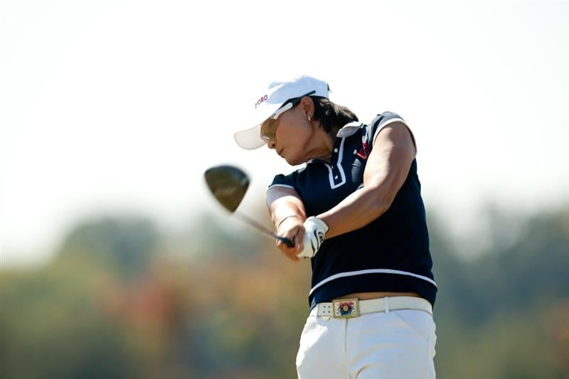 PRATTVILLE, AL - OCTOBER 9: Se Ri Pak of South Korea follows through on a tee shot during the third round of the Navistar LPGA Classic at the Senator Course at the Robert Trent Jones Golf Trail on October 9, 2010 in Prattville, Alabama. (Photo by Darren Carroll/Getty Images)