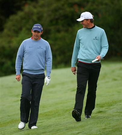 SOTOGRANDE, SPAIN - NOVEMBER 02:  Padraig Harrington of Ireland (left) walks with Robert Karlsson of Sweden on the 15th hole during the third round of the Volvo Masters at Valderrama Golf Club on November 2, 2008 in Sotogrande, Spain.  (Photo by Andrew Redington/Getty Images)