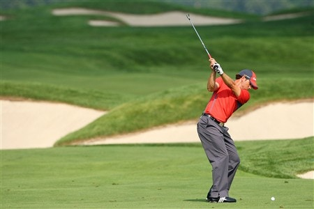 BLOOMFIELD HILLS, MI - AUGUST 05:  Sergio Garcia of Spain plays an approach shot during a practice round prior to the 90th PGA Championship at Oakland Hills Country Club on August 5, 2008 in Bloomfield Township, Michigan.  (Photo by Stuart Franklin/Getty Images)