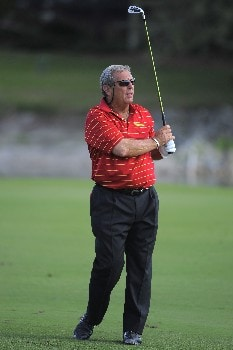 NAPLES, FL - FEBRUARY 16: Fuzzy Zoeller hits his second shot on the 17th hole during the second round of the ACE Group Classic at Quail West on February 16, 2008 in Naples, Florida. (Photo by Scott A. Miller/Getty Images)