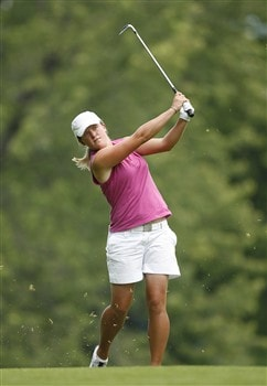 ROCHESTER, NY - JUNE 21: Karin Sjodin of Sweden hits her third shot on the 8th hole during the third round of the Wegmans LPGA at Locust Hill Country Club on June 21, 2008 in Rochester, New York. (Photo by Hunter Martin/Getty Images)