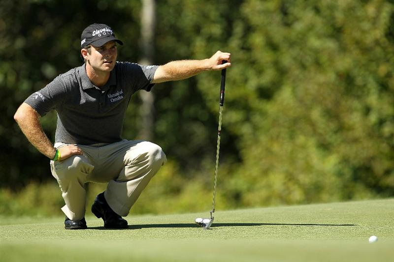 NORTON, MA - SEPTEMBER 04:  Kevin Streelman looks at his ball on the fifth green during the second round of the Deutsche Bank Championship at TPC Boston on September 4, 2010 in Norton, Massachusetts.  (Photo by Mike Ehrmann/Getty Images)
