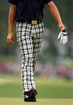 AUGUSTA, GA - APRIL 12:  Ian Poulter of England walks across the first green during the third round of the 2008 Masters Tournament at Augusta National Golf Club on April 12, 2008 in Augusta, Georgia.  (Photo by Andrew Redington/Getty Images)