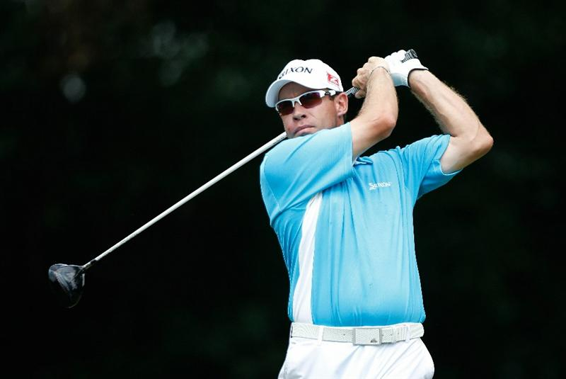 FT. WORTH, TX - MAY 27:  Brian Davis of England hits his tee shot on the 12th hole during the first round of the 2010 Crowne Plaza Invitational at the Colonial Country Club on May 27, 2010 in Ft. Worth, Texas  (Photo by Scott Halleran/Getty Images)