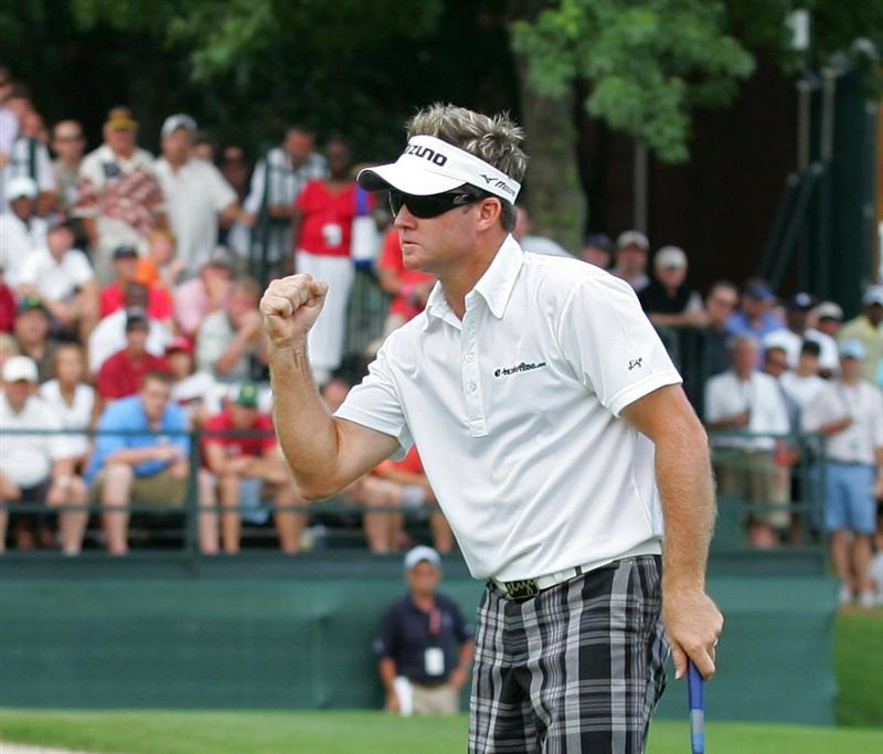 MEMPHIS, TN - JUNE 14:  Brian Gay of the United States celebrates winning the St. Jude Classic at TPC Southwind held on June 14, 2009 in Memphis, Tennessee.  (Photo by Michael Cohen/Getty Images)