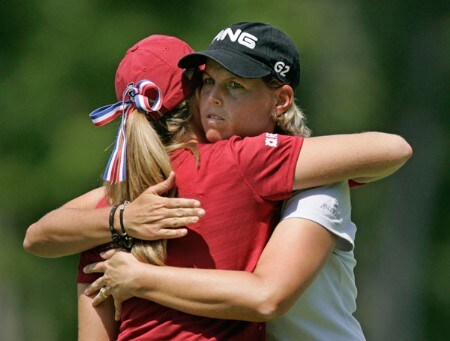 Wendy Ward hugs Paula Creamer after completing the first round of the Wendy's Championship for Children, Tartan Fields Golf Club, Dublin, Ohio.Photo by Hunter Martin/WireImage.com