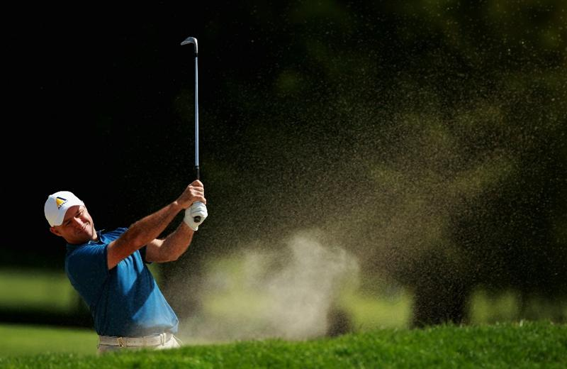 CRANS, SWITZERLAND - SEPTEMBER 02:  Robert Coles of England plays out of the 17th fairway bunker during the first round of The Omega European Masters at Crans-Sur-Sierre Golf Club on September 2, 2010 in Crans Montana, Switzerland.  (Photo by Warren Little/Getty Images)