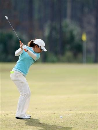 DAYTONA BEACH, FL - DECEMBER 04:  Mika Miyazato of Japan plays a shot on the 14th hole during the second round of the LPGA Qualifying School at LPGA International on December 4, 2008 in Daytona Beach, Florida.  (Photo by Sam Greenwood/Getty Images)