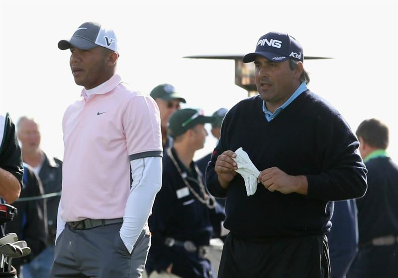SCOTTSDALE, AZ - FEBRUARY 05:  (L-R) Jhonattan Vegas of Venezuela and Angel Cabrera of Argentina prepare to tee off on the first hole during the second round of the Waste Management Phoenix Open at TPC Scottsdale on February 5, 2011 in Scottsdale, Arizona.  (Photo by Christian Petersen/Getty Images)