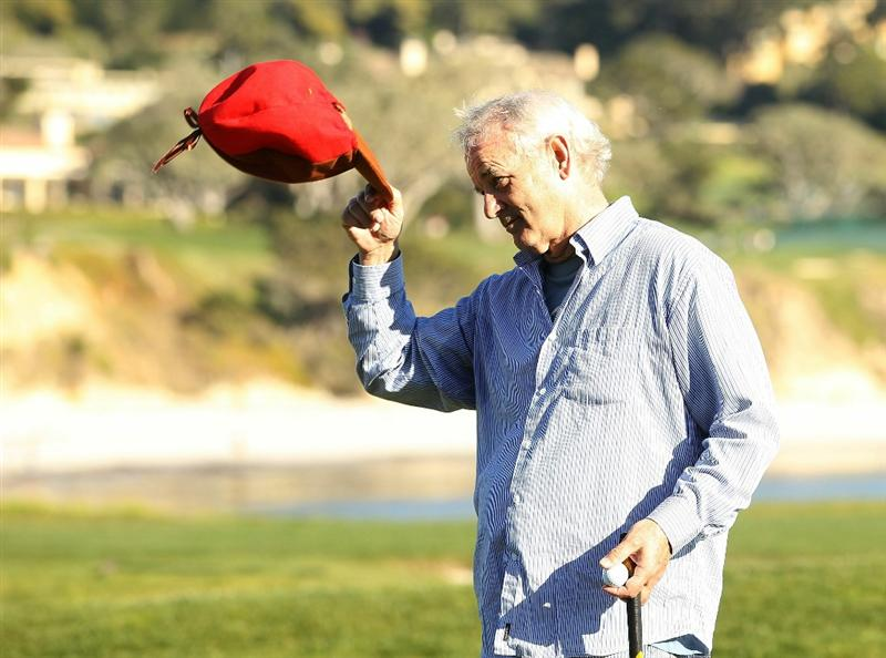 PEBBLE BEACH, CA - FEBRUARY 12:  Actor Bill Murray tips his hat on the 17th hole during the third round of the AT&T Pebble Beach National Pro-Am at the Pebble Beach Golf Links on February 12, 2011 in Pebble Beach, California.  (Photo by Ezra Shaw/Getty Images)