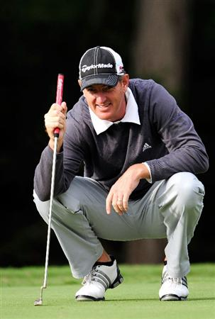 LAKE BUENA VISTA, FL - NOVEMBER 12:  Greg Owen looks over a shot on the 8th hole during the first round of the Children's Miracle Network Classic at the Disney Palm and Magnolia courses on November 12, 2009 in Lake Buena Vista, Florida.  (Photo by Sam Greenwood/Getty Images)