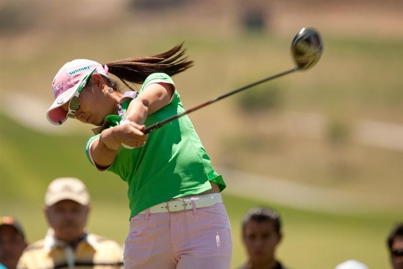 MORELIA, MEXICO - APRIL 30: Ai Miyazato of Japan follows through on a tee shot during the second round of the Tres Marias Championship at the Tres Marias Country Club on April 30, 2010 in Morelia, Mexico. (Photo by Darren Carroll/Getty Images)
