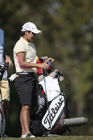 PRATTVILLE, AL - SEPTEMBER 25:   Yani Tseng of Taiwan stands next to her Titleist bag on the 11th tee during first round play in the Navistar LPGA Classic at the Robert Trent Jones Golf Trail at Capitol Hill on September 25, 2008 in  Prattville, Alabama.  (Photo by Dave Martin/Getty Images)