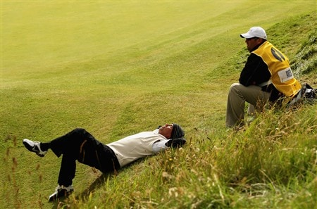 SOUTHPORT, UNITED KINGDOM - JULY 19:  Stephen Ames of Canada waits with his caddie Dean Elliott on the tenth hole during the third round of the 137th Open Championship on July 19, 2008 at Royal Birkdale Golf Club, Southport, England.  (Photo by Ross Kinnaird/Getty Images)