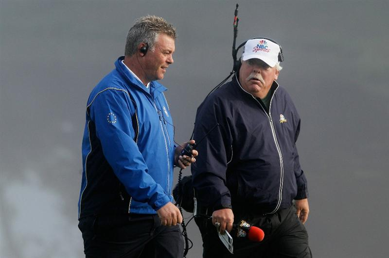 NEWPORT, WALES - OCTOBER 04:  European Team vice-captain Darren Clarke (L) walks with Roger Maltbie of NBC Sports in the singles matches during the 2010 Ryder Cup at the Celtic Manor Resort on October 4, 2010 in Newport, Wales.  (Photo by Sam Greenwood/Getty Images)