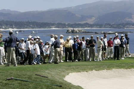Fans gather at the 18th hole for the final round of the 2005 Wal-Mart First Tee Open at Pebble Beach Golf Links, on September 4,2005. The event is being held at Pebble Beach Golf Links & Del Monte G.C., Pebble Beach, Ca. Hale Irwin shot -13 under for the win.  It's his third win of the 2005 season.Photo by Stan Badz/PGA TOUR/WireImage.com