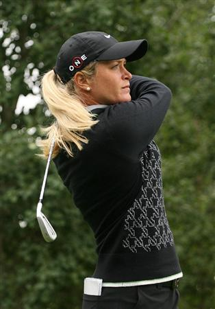CALGARY, AB - SEPTEMBER 06 : Suzann Pettersen of Norway hits her tee shot on the eighth hole during the final round of the Canadian Women's Open at Priddis Greens Golf & Country Club on September 6, 2009 in Calgary, Alberta, Canada. (Photo by Hunter Martin/Getty Images)