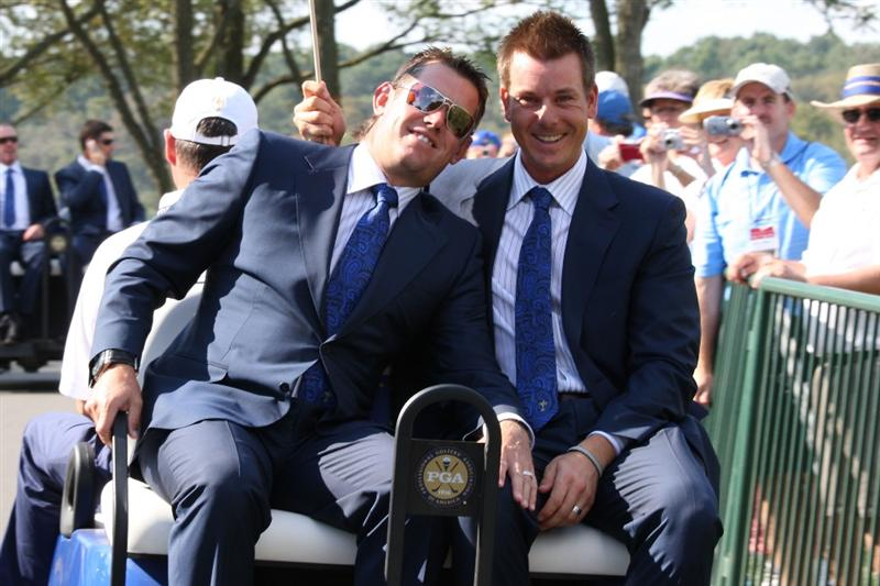 LOUISVILLE, KY - SEPTEMBER 18:  Lee Westwood and Henrik Stenson of the European team ride a golf cart to the opening ceremony for the 2008 Ryder Cup at Valhalla Golf Club on September 18, 2008 in Louisville, Kentucky.  (Photo by David Cannon/Getty Images)