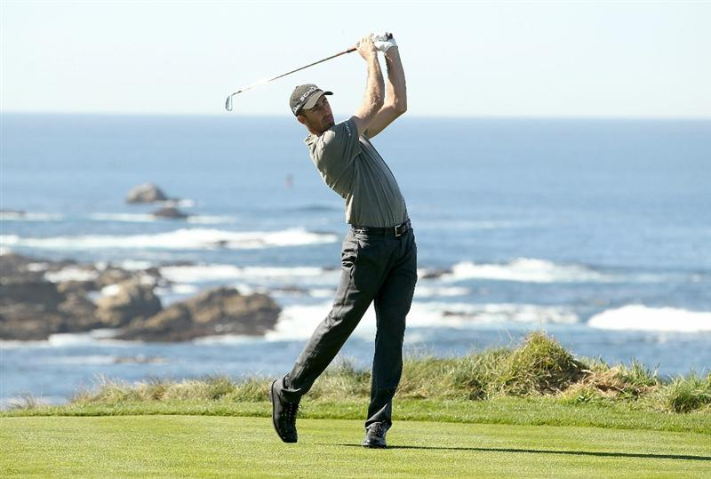 PEBBLE BEACH, CA - FEBRUARY 10:  Geoff Ogilvy of Australia tees off on the fourth hole at the Spyglass Hill Golf Course during Round One of the AT&T Pebble Beach National Pro-Am on February 10, 2011 in Pebble Beach, California.  (Photo by Ezra Shaw/Getty Images)