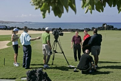The Golf Channel's John Mahaffey and Frank Nobilo film a cutaway during the Thursday Pro-Am at the 2006 Mastercard Championship  at Hualalai resort,  Kona, Hawaii.Photo by: Chris Condon/PGA TOUR